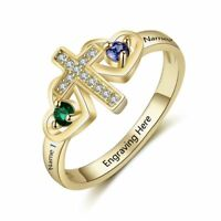 Personalized 925 Silver Cross Ring Double Heart Birthstone Name Promise Rings