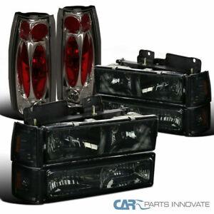 94-98 GMC C/K 1500 Smoke Headlights w/ Bumper Corner Lamps+Rear Tail Brake Lamps