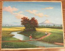 Vintage signed Aquino? folk art oil painting Ecuador landscape scene 11x14.5