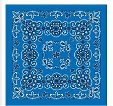 Cotton Bandana Scarf Royal Blue White Black Texas Paisley Extra Large 27 inch