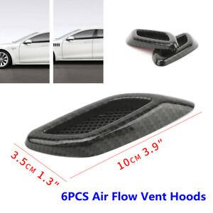 6PCS Carbon Fiber Car Hood Air Flow Fender Side Vent Decoration Sticker Strip