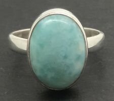 Larimar oval ring, solid Sterling Silver, UK size P, natural, new, actual one.