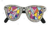 Adesivo calcomania sticker occhiali Dimensioni cm 3,5x8 circa Forma segue silhou