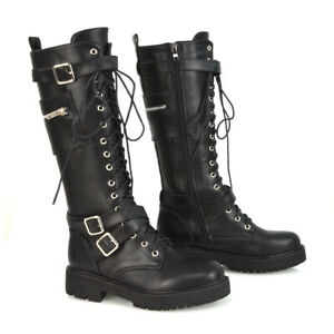 Womens Lace Up Pocket Boots Ladies Black Zip Pouch Goth Casual Winter Biker 3-8