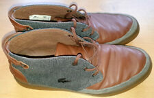 Lacoste Men's Brown Leather & Herringbone Shoes Size 8 (42)