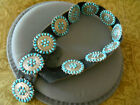 Old Southwestern Native American Turquoise Cluster Sterling Silver Concho Belt