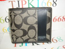 NWT COACH~Black White / Black~Chelsea Stripe Poppy Double Billfold  Wallet 74453