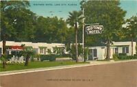 Lake City Florida~Mid-Town Motel~Sign~Short Palm Trees~1940s Postcard