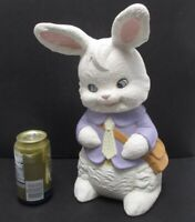 """Vintage 13"""" Ceramic Easter Bunny with Satchel Textured Paint Albertas Mold 1960s"""
