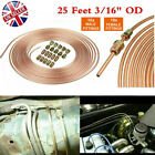 Copper Brake Pipe Hose 25ft Line Roll Tube Piping Joint Union 3/16inch & 20 nuts