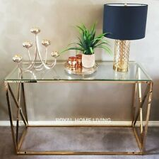 CONSOLE TABLE GOLD METAL FRAME TEMPERED GLASS TOP 120CM