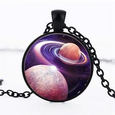 Wholesale Cabochon Glass Black  Chain Pendant Necklace ,Nine planet ideas /76