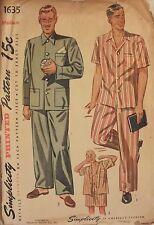 Amazing VTG 45 SIMPLICITY 1635 Mens Short or Long Pajamas PATTERN Medium/38-40