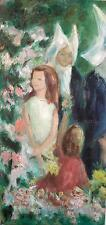 Children in the Flower Garden with Nuns, Original Oil Painting, Catholic