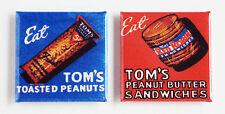 Tom's Peanut Butter FRIDGE MAGNET Set (2 x 2 inches each) tom thomas