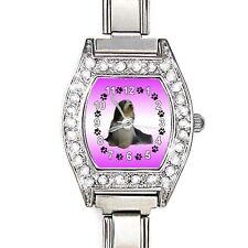 Bearded Collie CZ Womens Stainless Steel Italian Charm Wrist Watch BJ1121