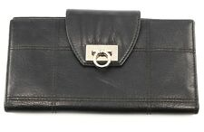 Salvatore Ferragamo Black Leather Silver HW Women's Wallet