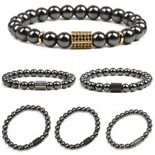 Men's Luxury CZ Zirconia Hexagon Magnetic Bracelets Hematite Healing Bracelets