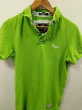 Mens Superdry Neon Green Short Sleeve Polo Shirt Size Medium #4P2