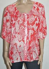 Millers Brand Red Snake Print Chiffon Button Front Blouse Size 16/XL BNWT #SA80