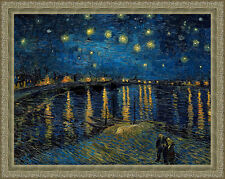 Starry Night Over the Rhone by Vincent van Gogh 84cm x 67cm Framed Silver Ornate