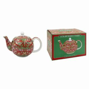 Lesser & Pavey Fine China William Morris Red Strawberry Thief Teapot Gift Boxed