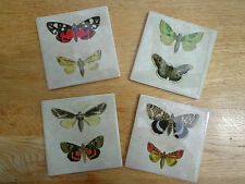 SHABBY VINTAGE BUTTERFLY MOTH COASTERS DRINKS MATS Ceramic Tile Set of 4