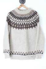 Scotnord Wool Nordic Style Sweater Brown Beige Round Yoke Knit Pullover Scotland