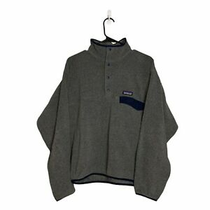 Patagonia Men's Lightweight Synchilla Snap-T Fleece Gray/Blue Pullover Medium