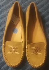 Lucky Brand Embroidered Suede Loafer Mocassin Tan/Natural Size 10 EUC