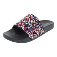 INC Womens Peymin 2 Rhinestone Slip On Flat Pool Slides Shoes BHFO 4248