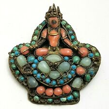 Antique Tibetan Nepalese Coral, Turquoise & Jade Deity Brooch