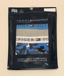 New 2 Tommy Hilfiger Big Boys Kids Camo/Solid Boxer Briefs Multi Sz Medium 8-10