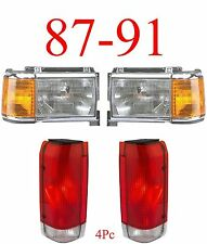 87 91 Ford 4Pc Head & Tail Light Kit, Chrome, F150, F250, Bronco, Truck, NIB!!