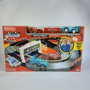 2006 Fisher Price Shake N Go Speedway Disney Cars Lightning McQueen and The King