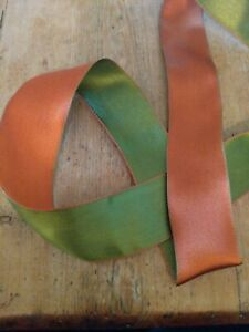 Wire Edge Christmas Ribbon Copper Sage Green Satin 38mm Double sided New