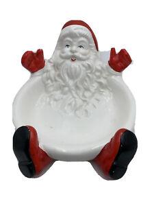 Vintage Beautiful Santa Claus Face Christmas Cookie Platter Plate