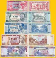 Guinea Bissau Set 50, 100, 500, 1000, 5000 Pesos 1990-1993 UNC Banknotes