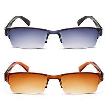 Herren Damen Lesebrille Vintage getönte Halbrand Rechteck Brille + 1.0 ~ 4.0