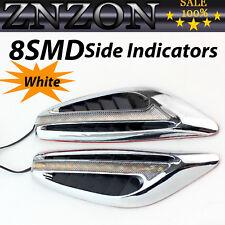 2Pcs White Car Fender Side Indicators Turn Signal Panels Lights Shark Style LED