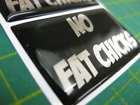 2 'NO FAT CHICKS' FUN NOVELTY DOMED STICKERS V002