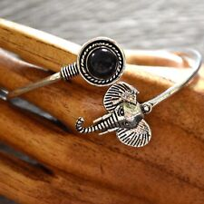 Black Tourmaline Schorl Sterling Silver Healing Elephant  Bangle Bracelet Gift