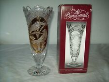 Hofbauer Bydes Crystal footed Vase  Nice shape with box Double Birds 1985