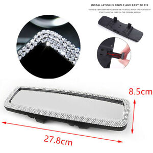 Glittering Crystal Rearview Mirror Car Wide-angle Clip-On Safety Driving Mirror