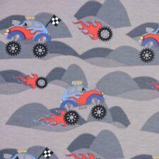 Baumwolljersey Jerseystoff Jersey Monster Truck Auto grau rot blau 1,50m Breite