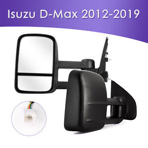 Pair Towing Mirrors Fit For Isuzu D-Max Mu-x 2012-2019 Extendable Manual Folding