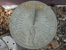 """Vintage Sun Dial-Grim Reaper-Bronze or Brass- """"Grow Old Along With Me"""" Excellent"""