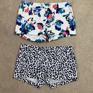 J CREW Printed Achor Chino Shorts #37569 Stretch Cotton Blend Lot of 2 Size 8
