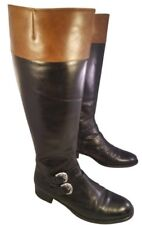 HUNTER ITALY WOMAN BOOTS ALL LEATHER EQUESTRIAN RIDING BUCKLES BLACK BROWN 7.5 M