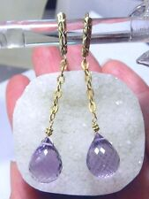 RARE NATURAL FACETED PINK PURPLE AFICAN AMETHYST 14K GOLD LEVERBACK EARRINGS